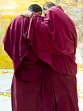 Two Buddhist Monks from the Back  Tibet  China  Asia