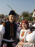 Woman and Man Wearing Folk Dress During Autumn Feast with Law Festival  Borsice  Czech Republic