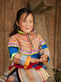 Portrait of Flower Hmong Girl in Traditional Clothing  Ban Pho Village  Bac Ha  Ha Giang  Vietnam