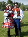 Woman and Man Dressed in Folk Dress  Village of Vlcnov  Zlinsko  Czech Republic