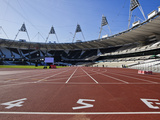 The Start Line of the 100M Inside the Olympic Stadium  London  England  United Kingdom  Europe