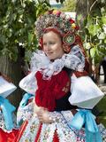 Woman Wearing Vlcnov Folk Dress During Ride of Kings Festival  Vlcnov  Zlinsko  Czech Republic