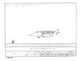 """A Flu Air Inc plane is landing Beneath reads """"Now landing at an airport… - New Yorker Cartoon"""