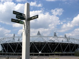 Signpost for the Greenway  with the Oiympic Stadium Behind  Stratford  London  England  UK