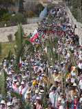 Palm Sunday Procession on Route from Betphage to Sainte Anne  Jerusalem  Israel  Middle East