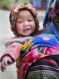 Portrait of Black Hmong Baby in Sling Attached to Mother  Sapa  Lao Cai  Vietnam  Indochina