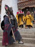 Masked Dancers at Buddhist Monastery  Ura  Bhutan  Asia
