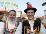 Woman and Man Wearing Zdanice Folk Dress  Village of Zdanice  Brnensko  Czech Republic
