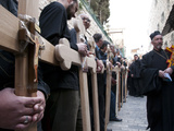 Good Friday Processions Along Way of Cross (Via Dolorosa) in Old City in 2011  Jerusalem  Israel