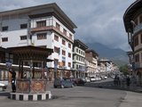 Main Junction on Norzin Lam in the City Centre  Thimpu  Bhutan  Asia