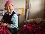 Portrit of Woman Making Tie-Dye Tablecloths  Zhoucheng  Dali  Yunnan Province  China  Asia