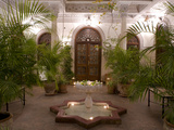 Interior Courtyard with Marble Fountain and Palm Trees  Villa Des Orangiers  Marrakech  Morocco