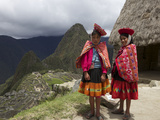 Traditionally Dressed Children by Machu Picchu  UNESCO World Heritage Site  Vilcabamba Mtns  Peru