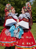 Women Wearing Vlcnov Folk Dress During Ride of Kings Festival  Vlcnov  Zlinsko  Czech Republic