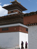 Two Elderly Women Walking Chora around a Chorten  Paro  Bhutan  Asia