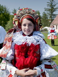 Woman Wearing Folk Dress  the Ride of the Kings Festival  Vlcnov  Zlinsko  Czech Republic  Europe