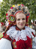 Woman Wearing Vlcnov Folk Dress During Ride of Kings Festival  Vlcnov  Zlinsko  Czech Republic