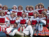 Girls and Men Wearing Folk Dress  Ride of Kings Festival  Vlcnov  Zlinsko  Czech Republic  Europe