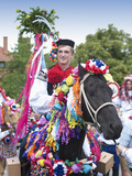Man Riding Horse and Wearing Folk Dress During Festival Ride of Kings  Vlcnov  Czech Republic