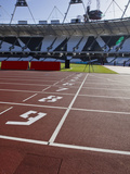 The Finishing Line of the Athletics Track Inside the Olympic Stadium  London  England  UK