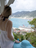 Woman Looking at Cruise Ship in Port  Charlotte Amalie  St Thomas  US Virgin Islands  Caribbean