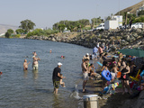 People Bathing in the Sea of Galilee  Tiberias  Israel  Middle East