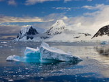 Icebergs Drifting Past Snow Covered Mountains on Gerlache Strait  Antarctic Peninsula  Antarctica