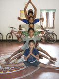 Young Boys Being Trained as Female Gotipua Dancers Performing  Raghurajpur  Orissa  Inda