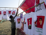 NLD Stall with T-shirts of Lady and General Aung San  Mawdinsoun Yearly Festival  Myanmar (Burma)
