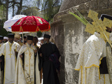 Ethiopian Palm Sunday Procession on Roof of Church of Holy Sepulchre  Old City  Jerusalem  Israel