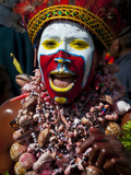 Face Painted Local Tribes Celebrating Sing Sing  Mount Hagen  Highlands of Papua New Guinea