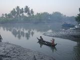 Two Women on Small Boat  Oak Po Kwin Chaung Village  Irrawaddy Delta  Myanmar (Burma)
