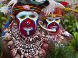 Face Painted Local Tribes Celebrating Sing Sing  Enga  Highlands of Papua New Guinea