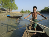 Fisherman on His Small Boat  Yin Dee Lag Village  Irrawaddy Delta  Myanmar (Burma)  Asia
