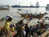 Passengers Embarking on a Small Ferry Boat across the River  Yangon Harbour  Myanmar (Burma)  Asia