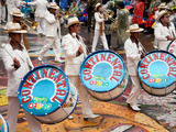 Drummers and Brass Band  Oruro Carnival Procession Parade  Oruro  Bolivia  South America