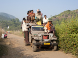 Overloaded Village Jeep Carrying Dunguria Kondh Tribesmen  Bissam Cuttack  Orissa  India