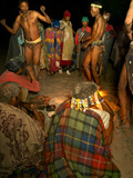 Jul'Hoan !Kung Bushman Villagers Watch Men Perform a Healing Dance  Bushmanland  Namibia