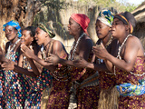 Villagers Dancing in Motion  Kxoe Village  Kwando River Area  Caprivi Strip  Eastern Namibia