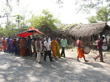 Drummers Leading Village Bride under Red Canopy to Her Marriage Ceremony  Rural Orissa  India