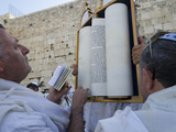Traditional Cohen's Benediction at Western Wall  Old City  Jerusalem  Israel