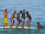 Happy Children Playing on the Beach of Savo Island  Solomon Islands  Pacific