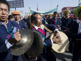 Music Band in Yearly Procession to Monastery on Pa Oh Minority Nat'l Day  Taungyi  Myanmar (Burma)
