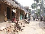 Artists Houses with Thatched Roofs in Main Street of Artists' Village  Raghurajpur  Orissa  Inda