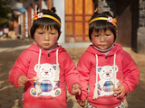 Portrait of Chinese Twin Girls  Shaxi  Yunnan Province  China  Asia