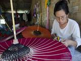 Woman at Work at an Umbrella Workshop  Pathein  Irrawaddy Delta  Myanmar (Burma)  Asia