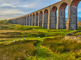 Pen-y-ghent and Ribblehead Viaduct  Yorkshire Dales Nat&#39;l Park  North Yorkshire  England
