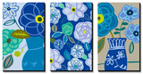 Blue Flower Swirls Triptych