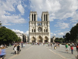 Tourists Outside Notre Dame Cathedral  Paris  France  Europe