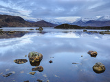 Snow Covered Mountains  Lochan na h-Achlaise  Rannoch Moor  Argyll and Bute  Highlands  Scotland